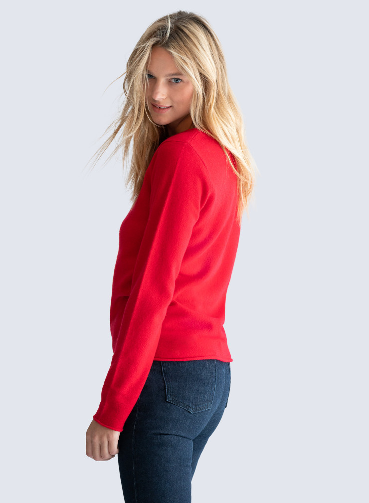 Sailor neck rolled finish Sweater