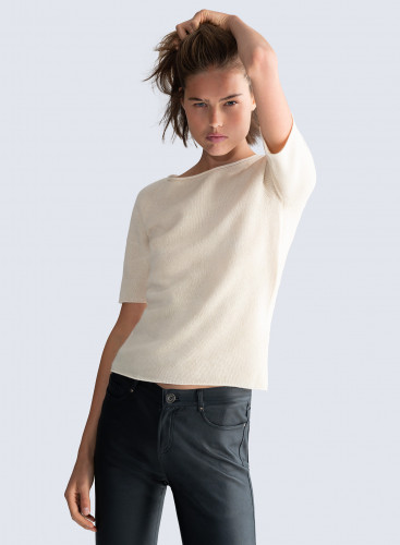 Sailor neck short sleeved Mongolian cashmere Sweater