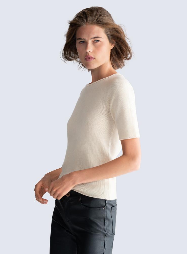 Sailor neck short sleeved Mongolian cashmere Sweater