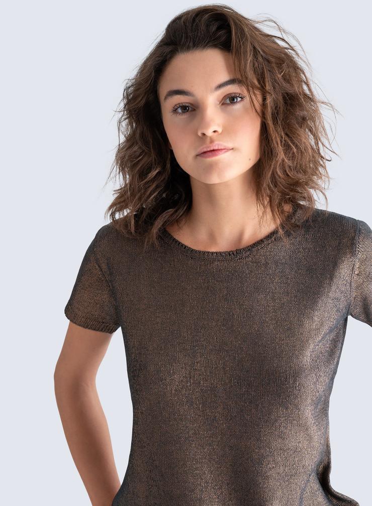 Round neck shimmering short sleeved Sweater