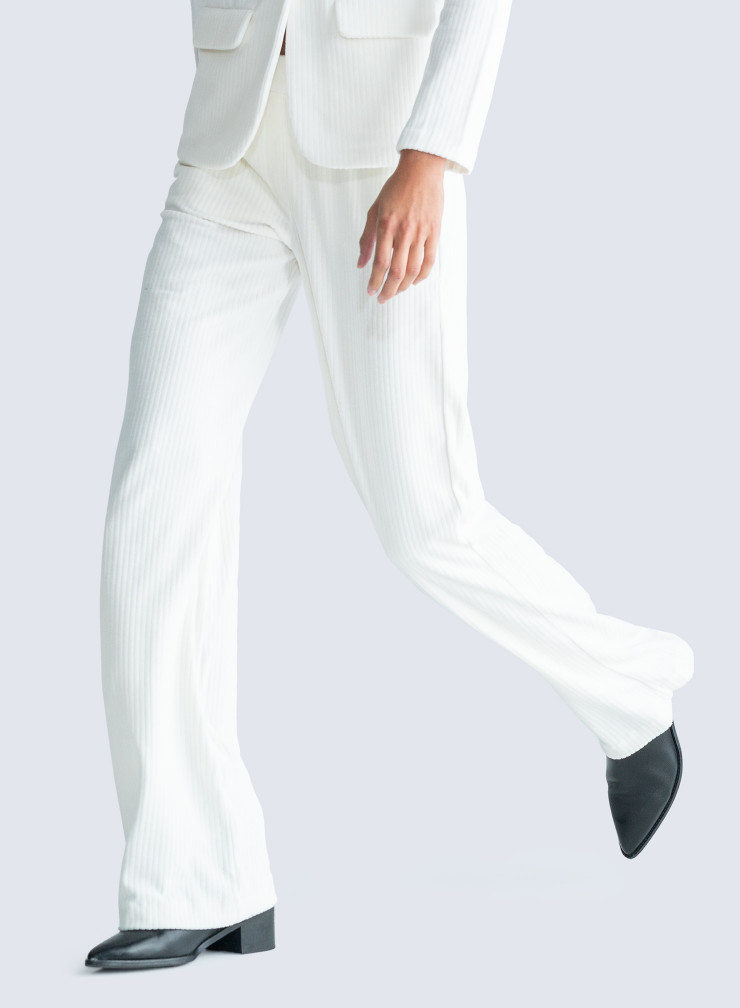 Ribbed velvet straight Pants