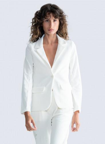 Ribbed velvet 1 button Jacket