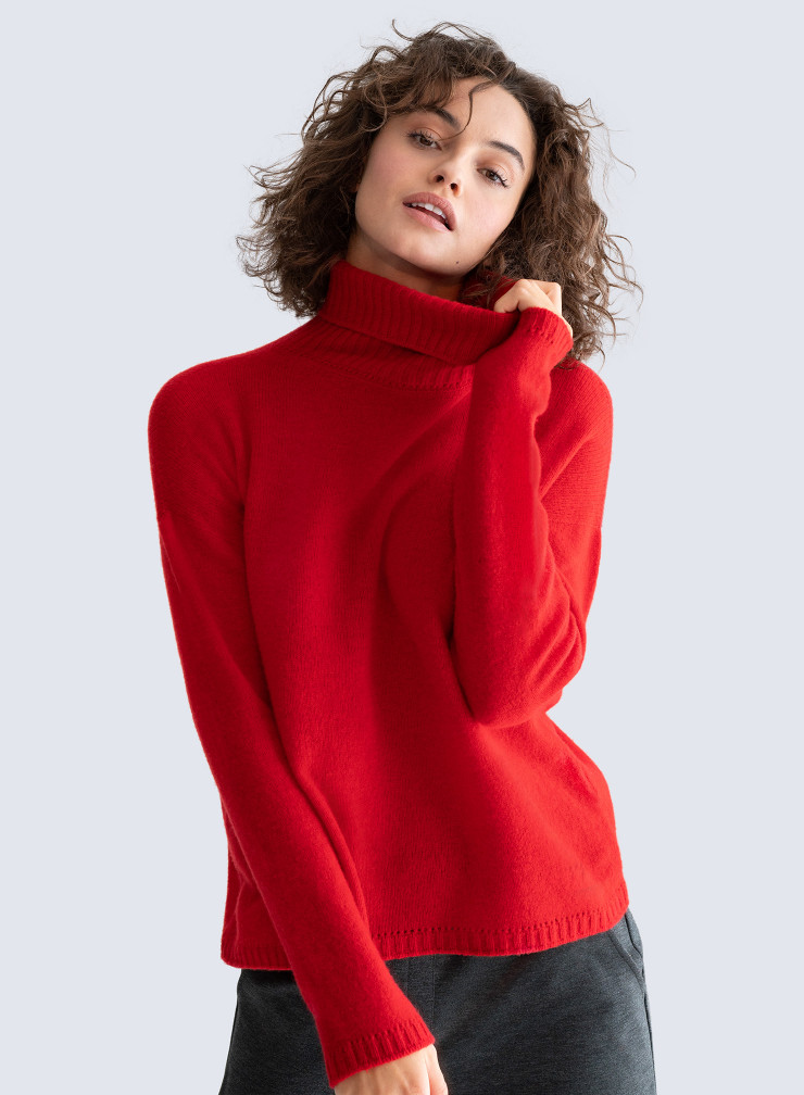 Turtleneck Sweater with openwork details