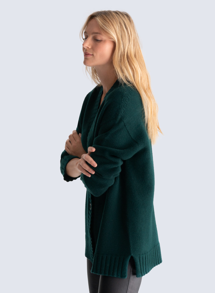 Mid-length ribbed finish Cardigan