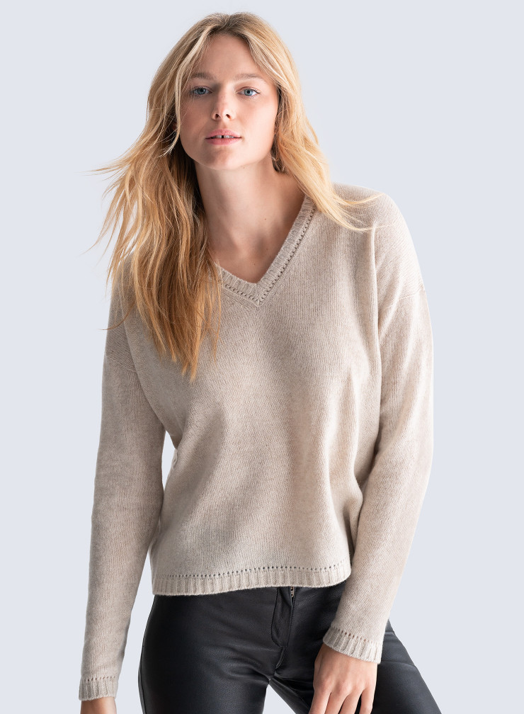 V-neck Sweater with openwork details