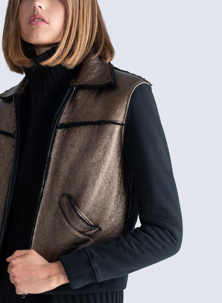 Blouson en peau lainée métallisée