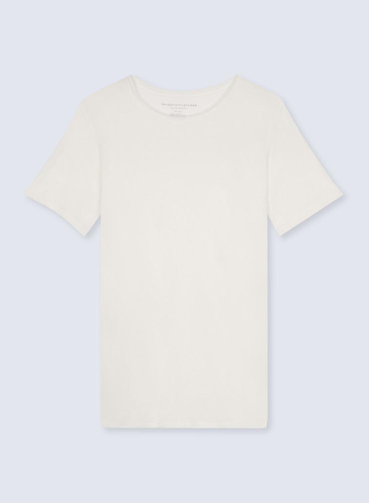T-shirt col rond finition roulottée