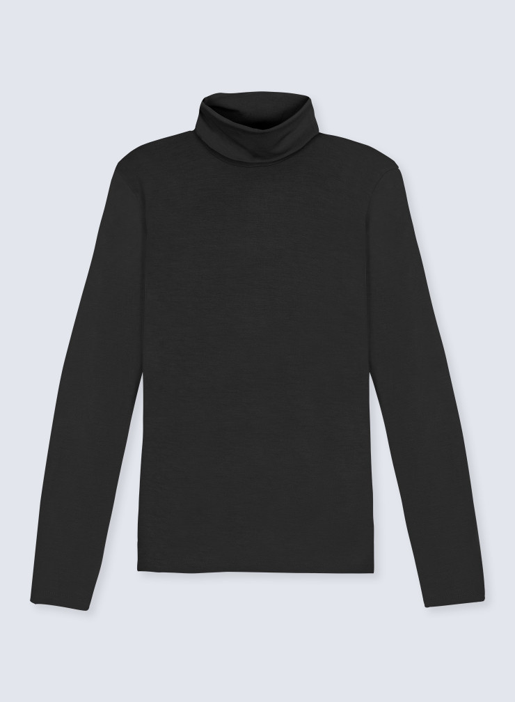 Turtleneck ribbed T-shirt