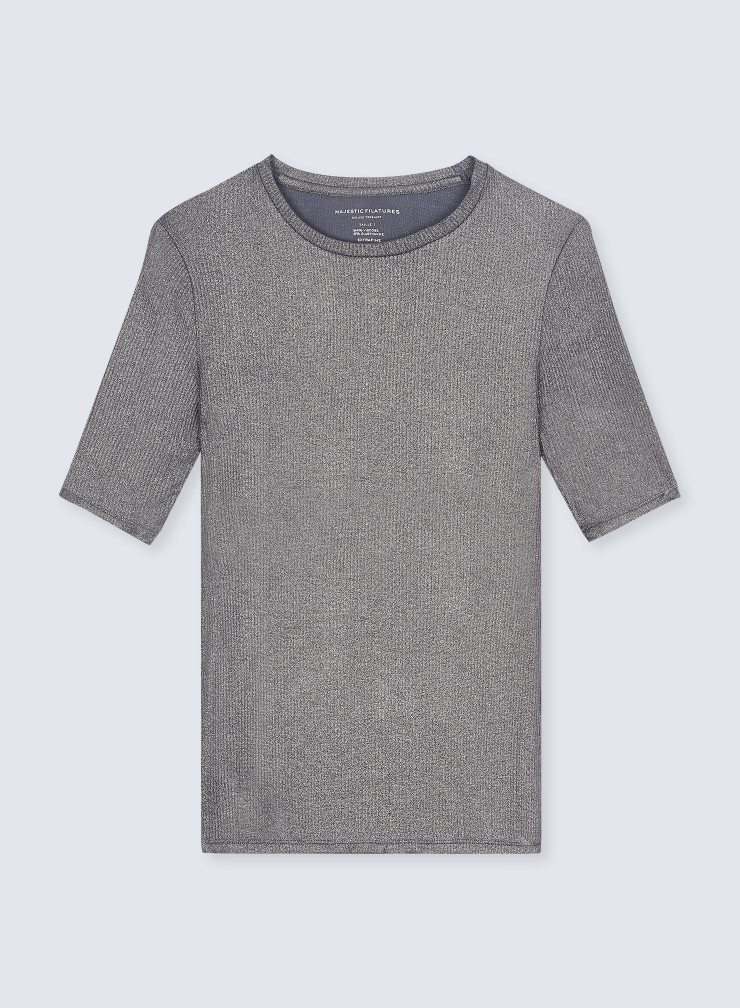 Round neck shimmering ribbed T-shirt