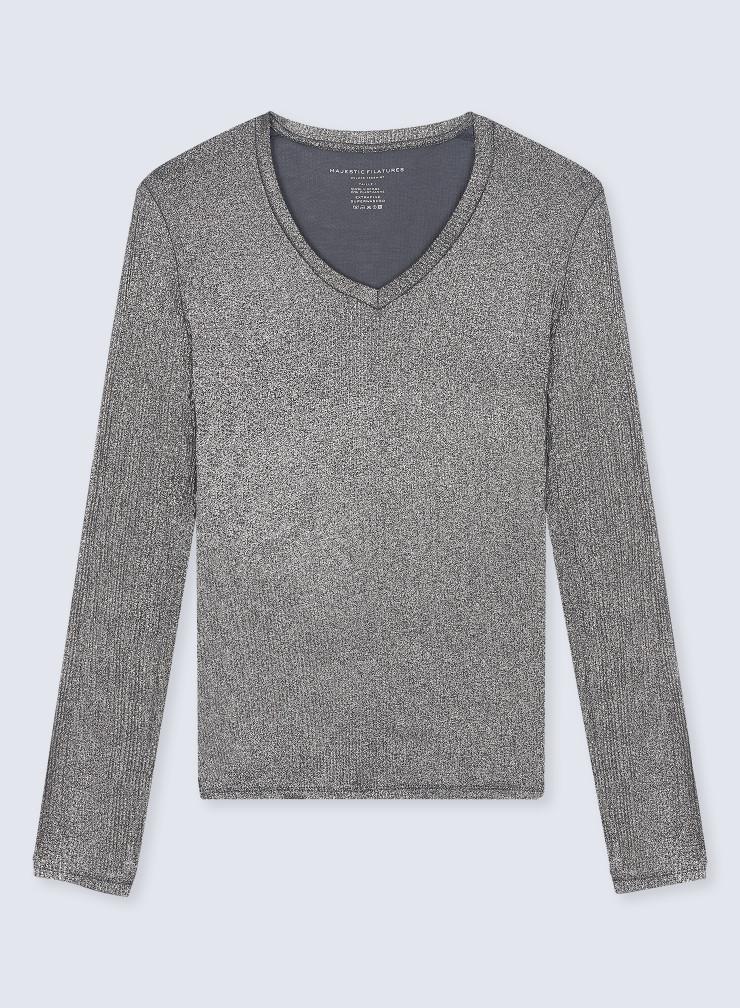 V-neck shimmering ribbed T-shirt
