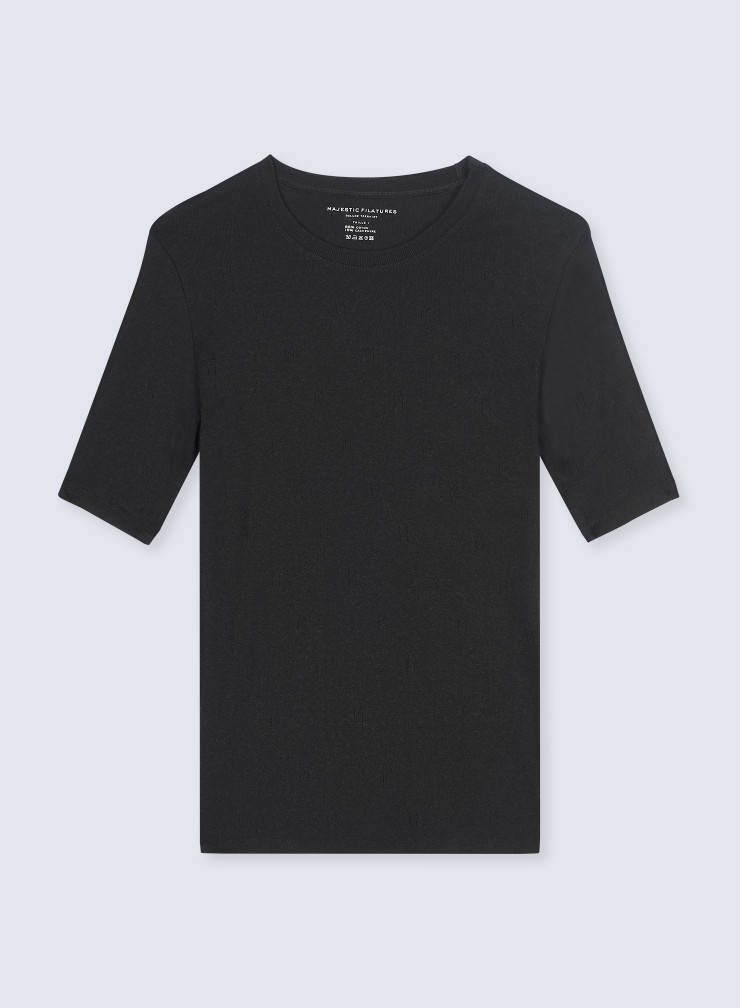 "Round neck ""M"" hemstitched T-shirt"