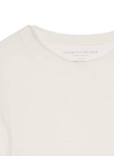 """Round neck """"M"""" hemstitched T-shirt"""