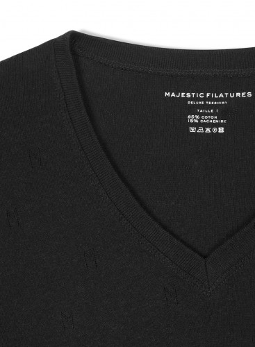 "V-neck ""M"" hemstitched T-shirt"