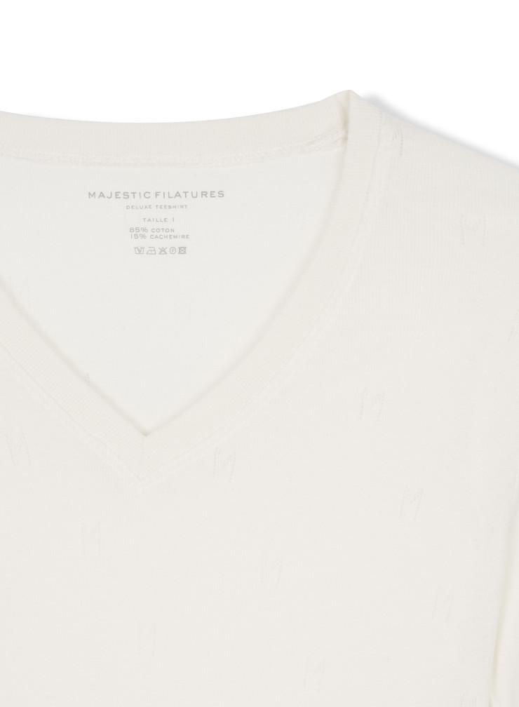 """V-neck """"M"""" hemstitched T-shirt"""