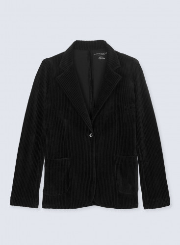 Ribbed velvet 1 button Jacket with patch pockets