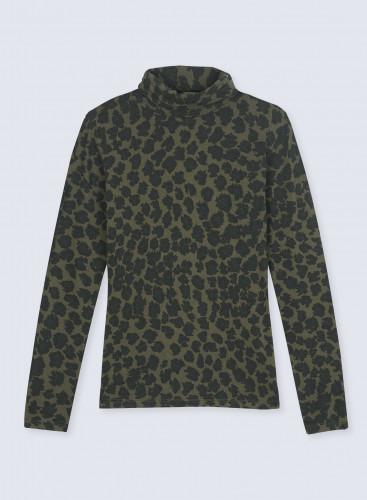 T-shirt col roulé imprimé léopard