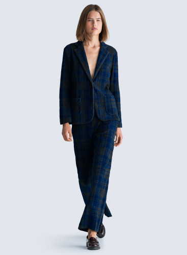 Checked velvet flared Pants
