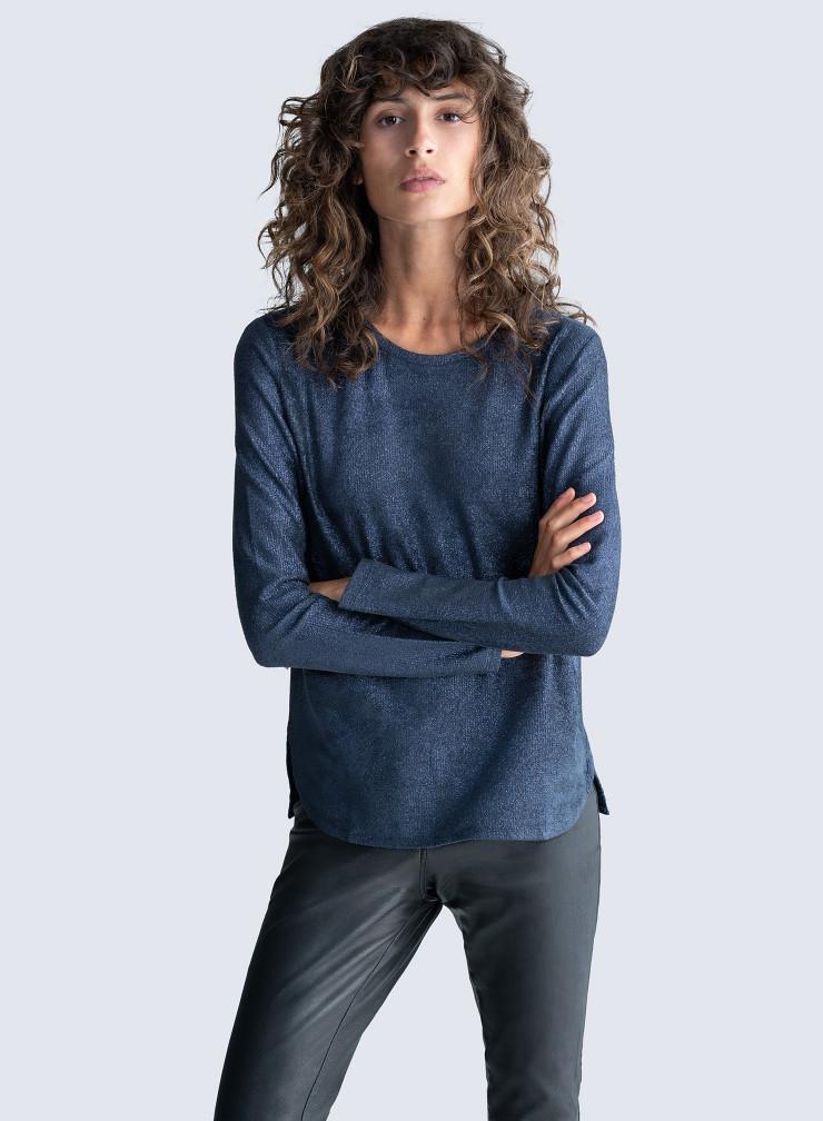 T-shirt col rond en velours métallisé mille raies