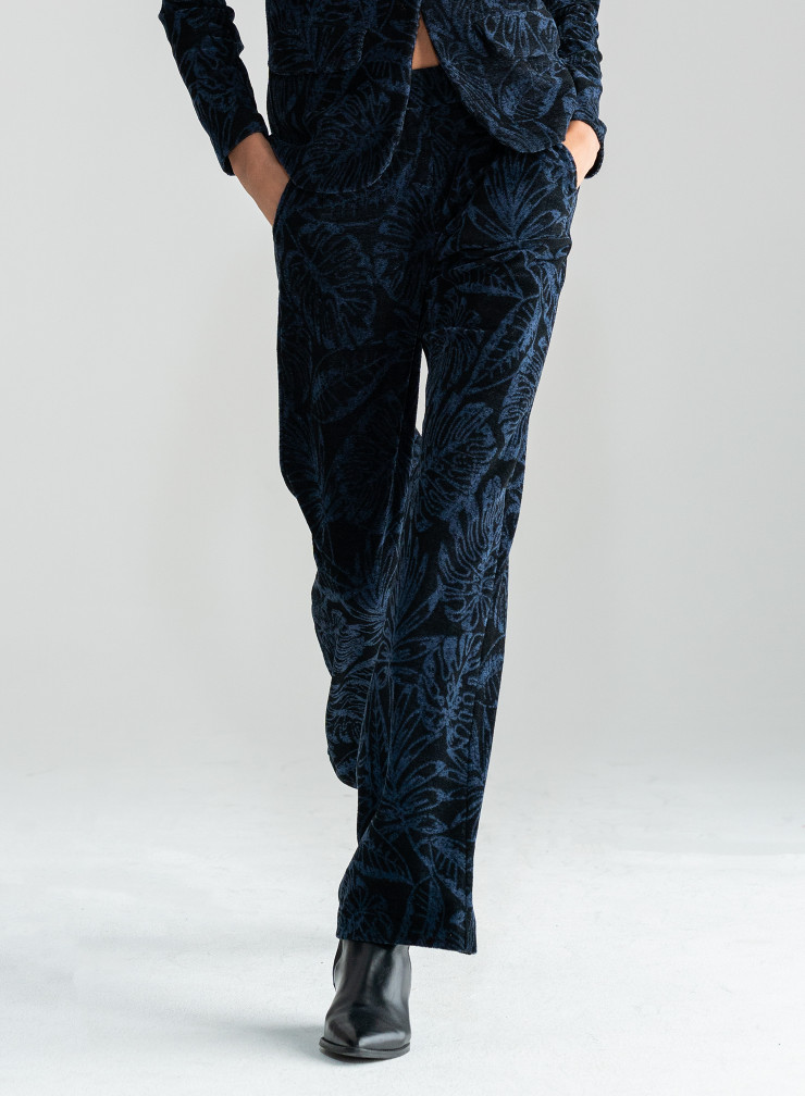 Jacquard velvet straight Pants