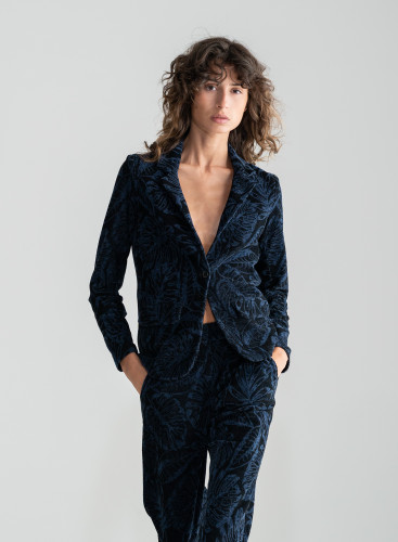 Jacquard velvet one button Jacket