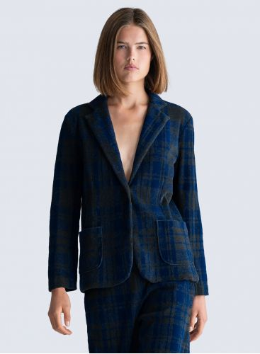 Checked velvet 1 button Jacket