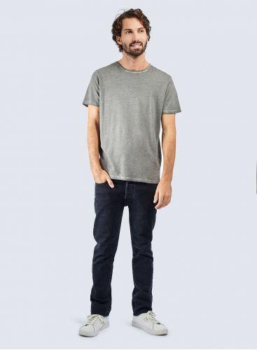 T-shirt col rond finition roulottée teinture artisanale