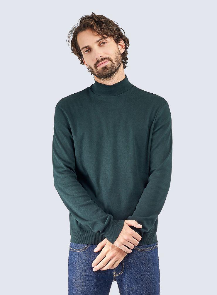 T-shirt col montant finition bord-côte