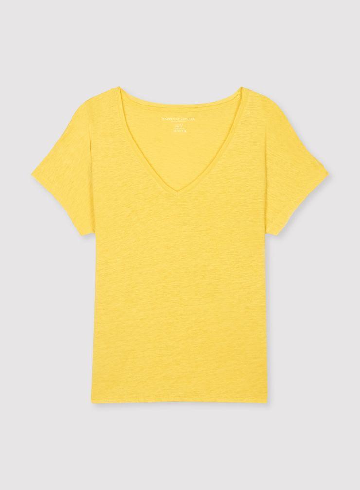 T-shirt boxy col V