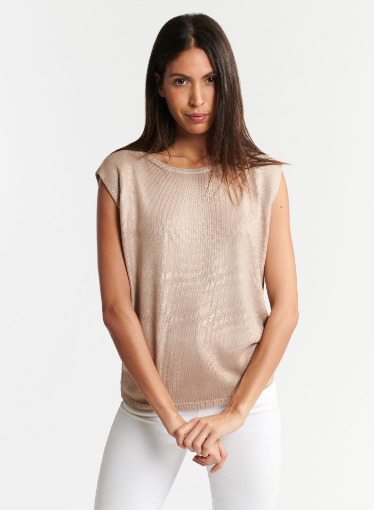 Shimmering round neck sweater