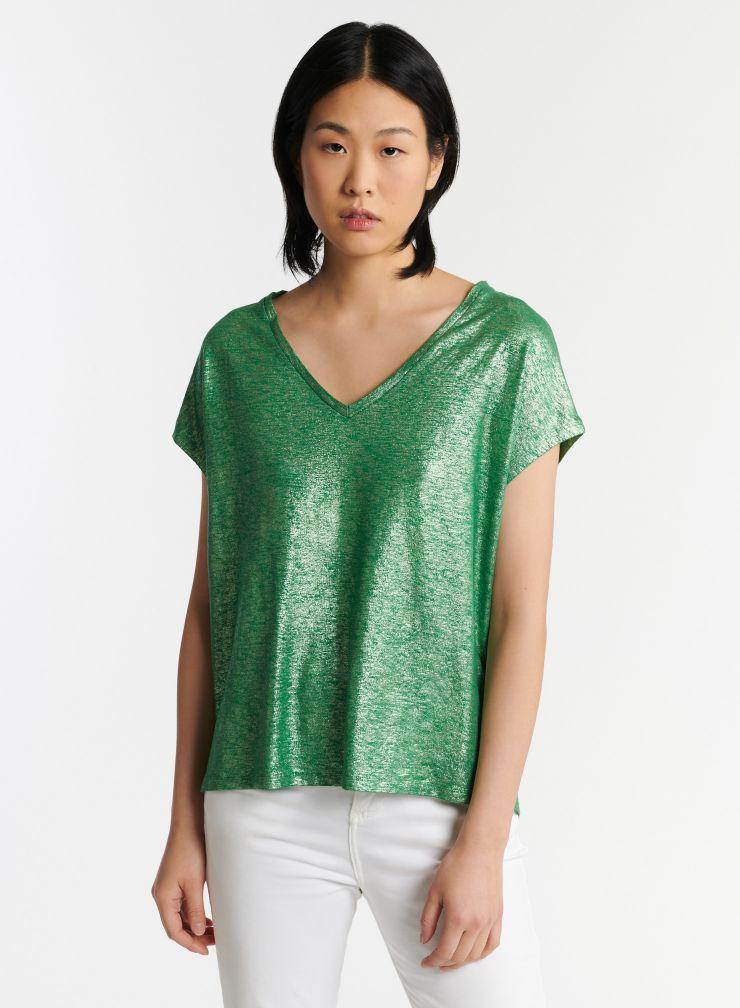T-shirt col V métallisé