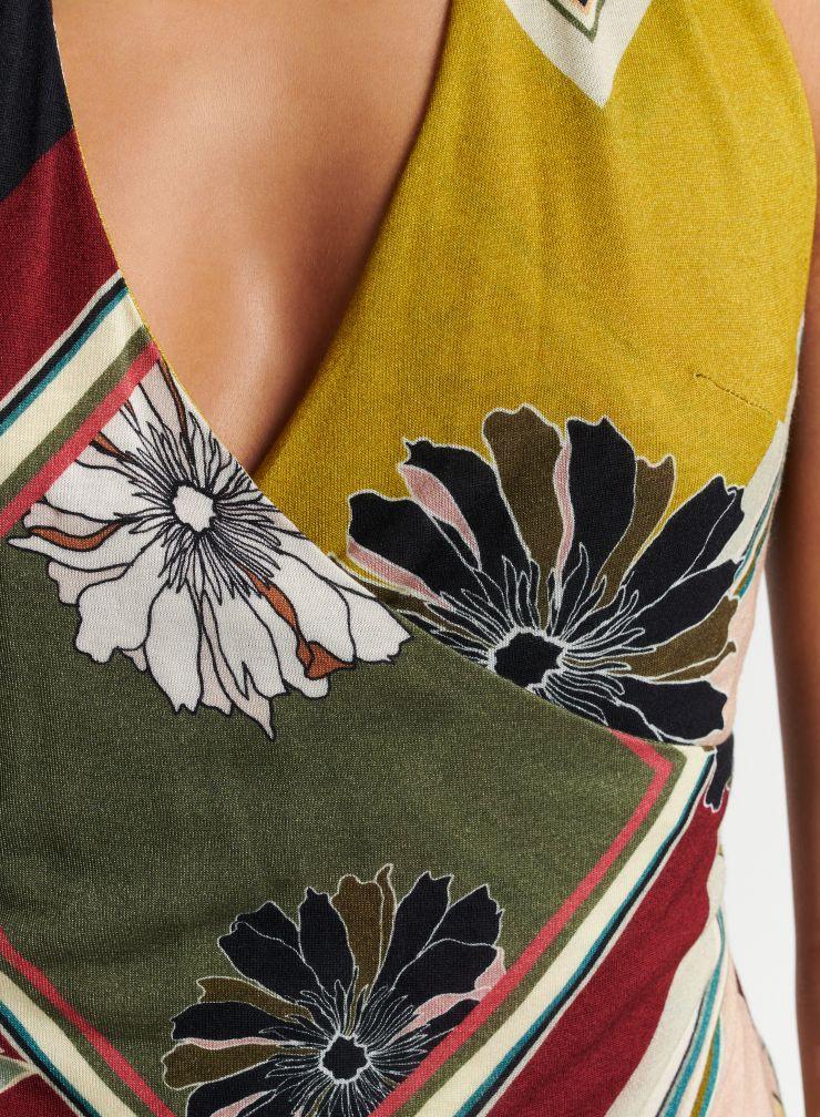 Graphic floral print halter top