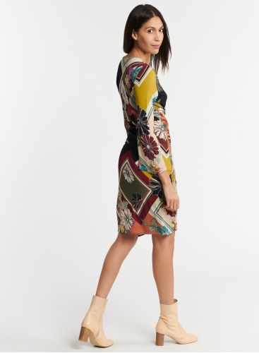 Graphic floral print wrap dress