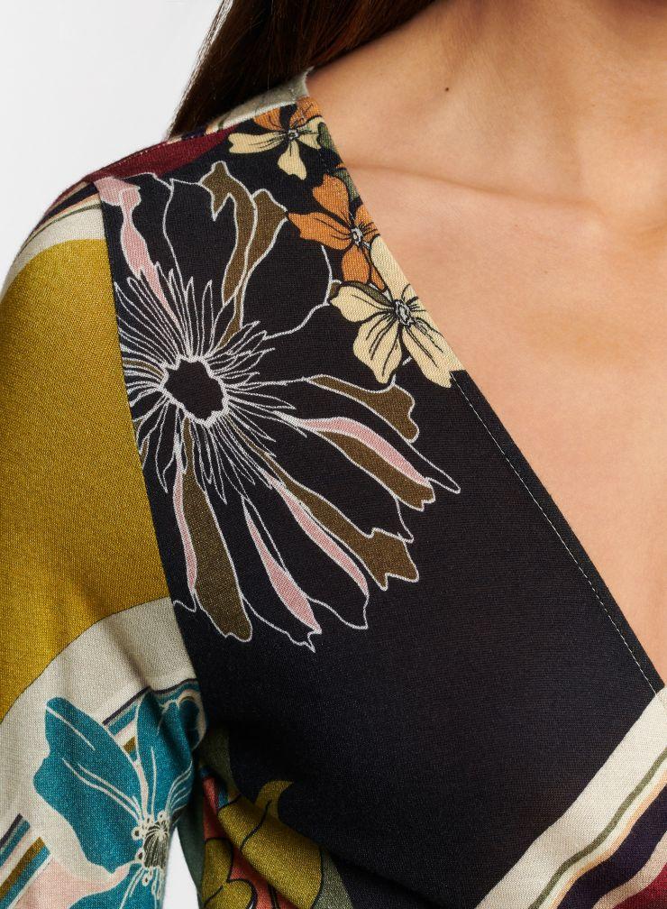 Robe cache-cœur imprimé fleuri graphique