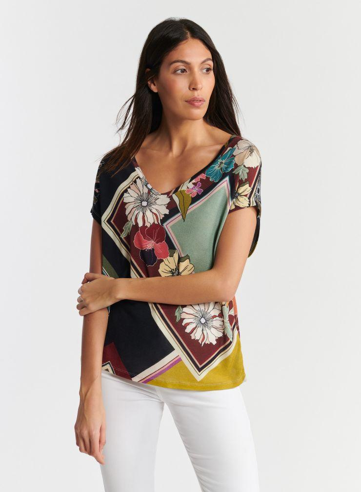 T-shirt col V imprimé fleuri graphique