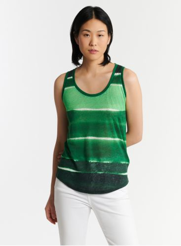 Tank top ink wash striped print