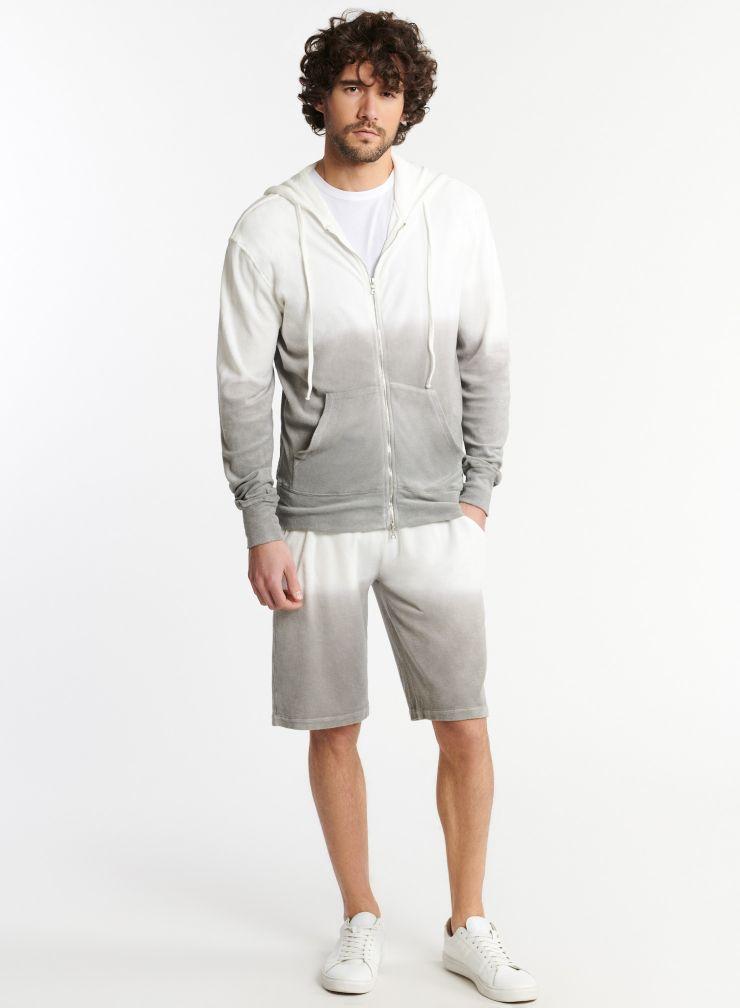 Homme - Sweat zippé à capuche éponge dip dye