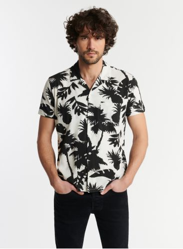 Man - Short sleeve palm tree print shirt