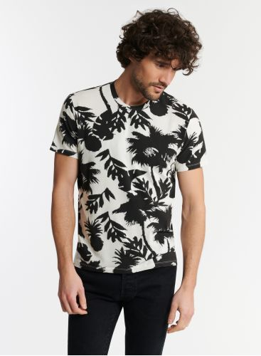 Man - Palm tree print round neck T-shirt
