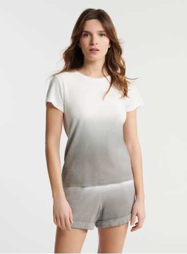 Terry-cloth dip dye round neck t-shirt