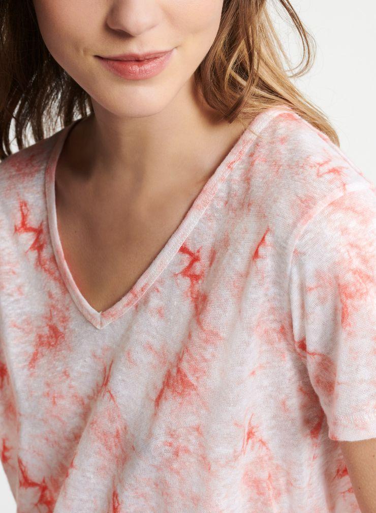 T-shirt col V imprimé tie & dye