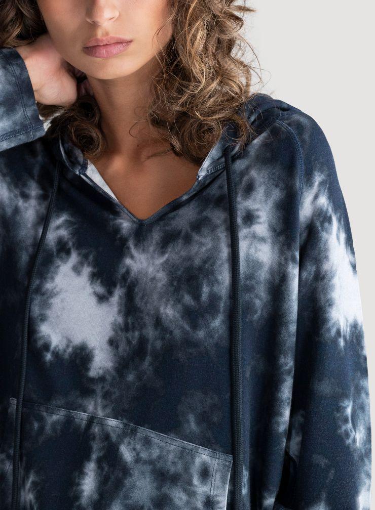 Sweat à capuche molleton imprimé tie & dye
