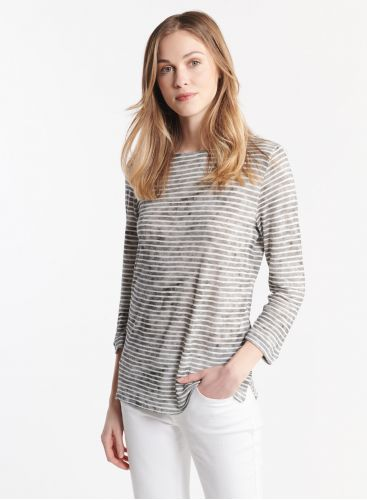 3/4 sleeve striped boat neck T-shirt