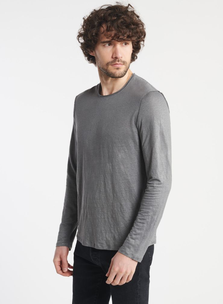 Homme - T-shirt col rond manches longues