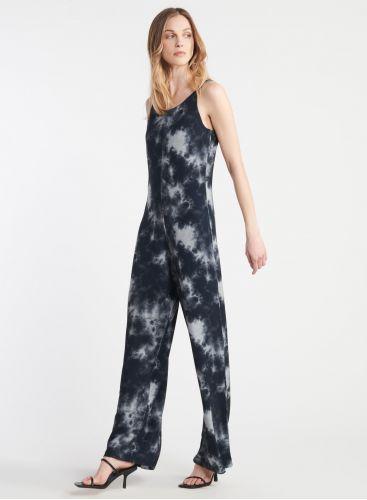 Tie-dye print fleece jumpsuit