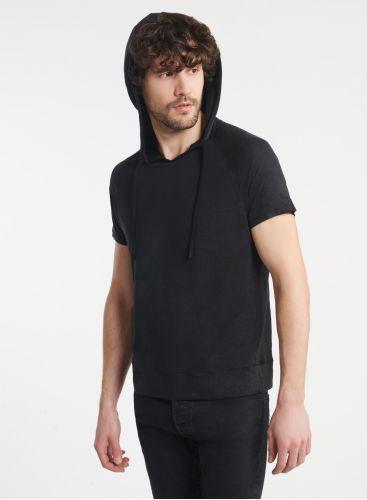 Homme - Sweat à capuche manches courtes