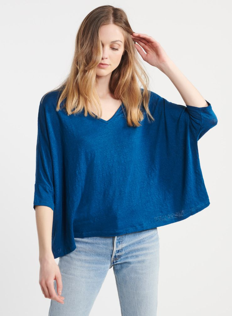 T-shirt oversize col v manches 3/4