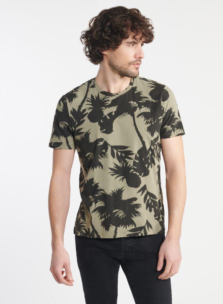 Man - Palm tree print round neck T-shirt