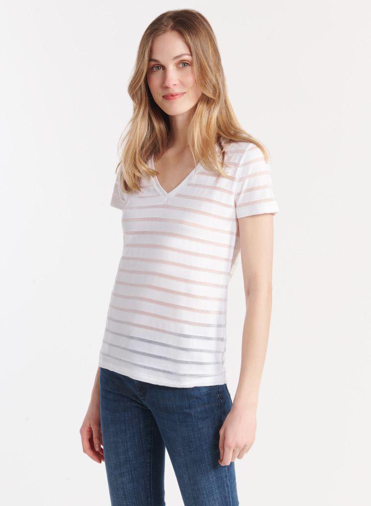 T-shirt col V marinière