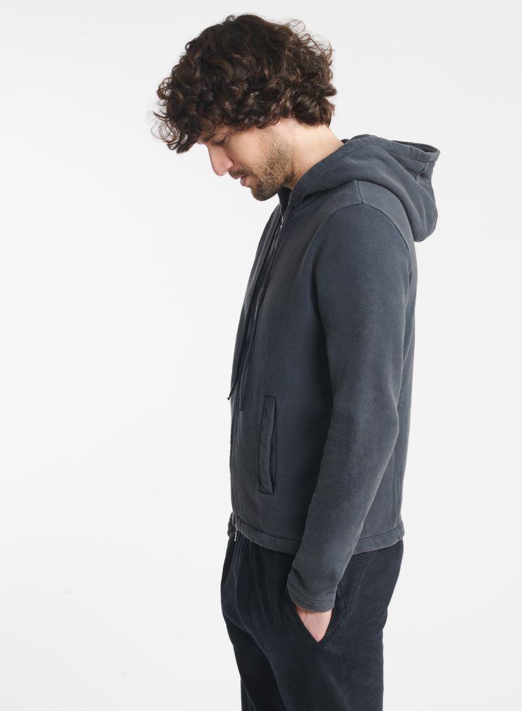 Homme - Sweat zippé à capuche teinture artisanale