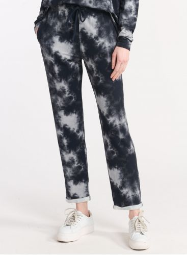 Tie & dye print fleece pants